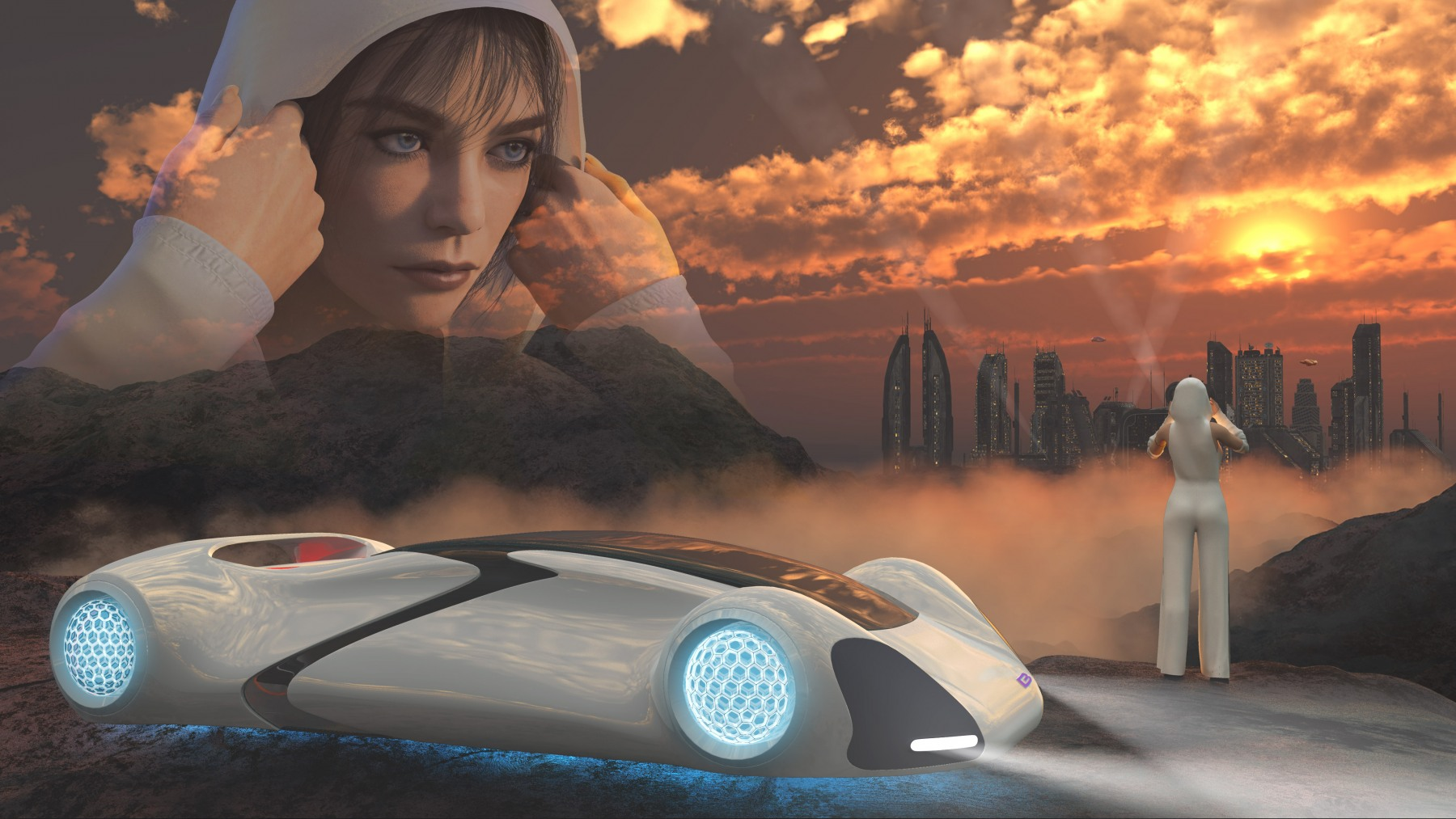 FUTURE CITY AND HOVER CAR