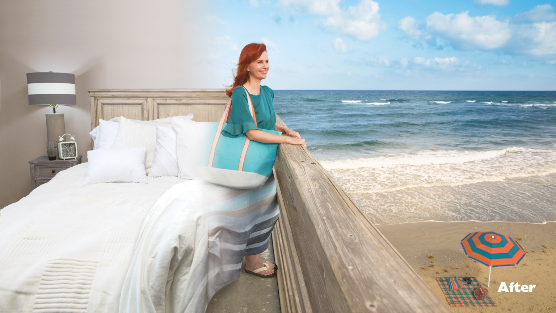 BED TO BEACH WOMAN AFTER