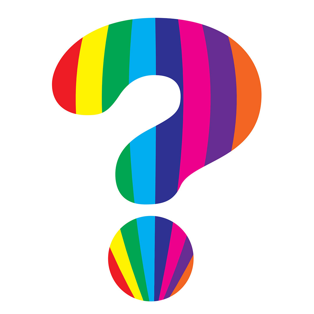 STRIPES MASKED WITH QUESTION MARK SHAPE
